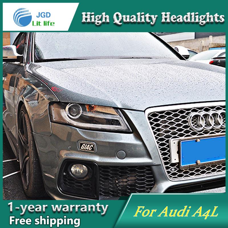 высокое качество чехол стайлинга автомобилей для Audi A4L 2009-2012 В8 светодиодные фары Камри LED объектив фар DRL двойной Луч HID