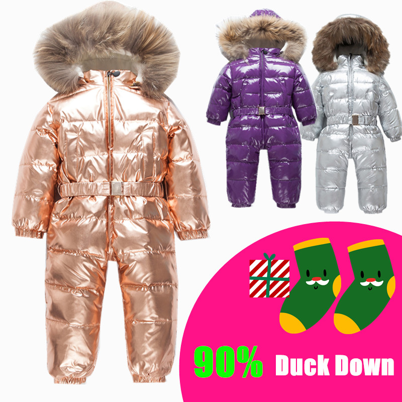 Russian Winter Infant Warm White Duck Down Rompers Children Outdoor Ski Sets Baby Big Fur Collar Hooded Windproof Jumpsuits -35