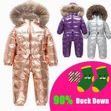 Rosyjski zima niemowlę ciepły biały puch kaczy pajacyki dla dzieci narty terenowe zestawy dla dzieci duża, futrzana kołnierz z kapturem wiatroszczelna kombinezony 35