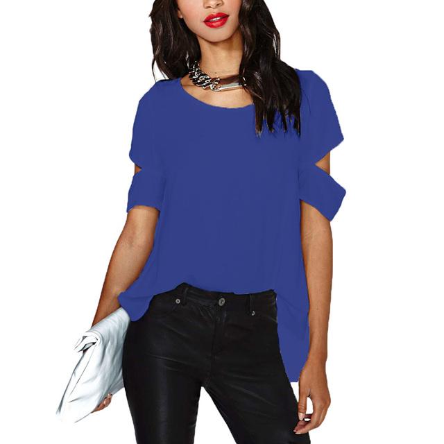 9e5ed574a Anself Fashion Women Chiffon Tops Split Back Cutout Short Sleeve Summer Top  Plus Size Tee Shirt Femme Casual Loose Solid T Shirt