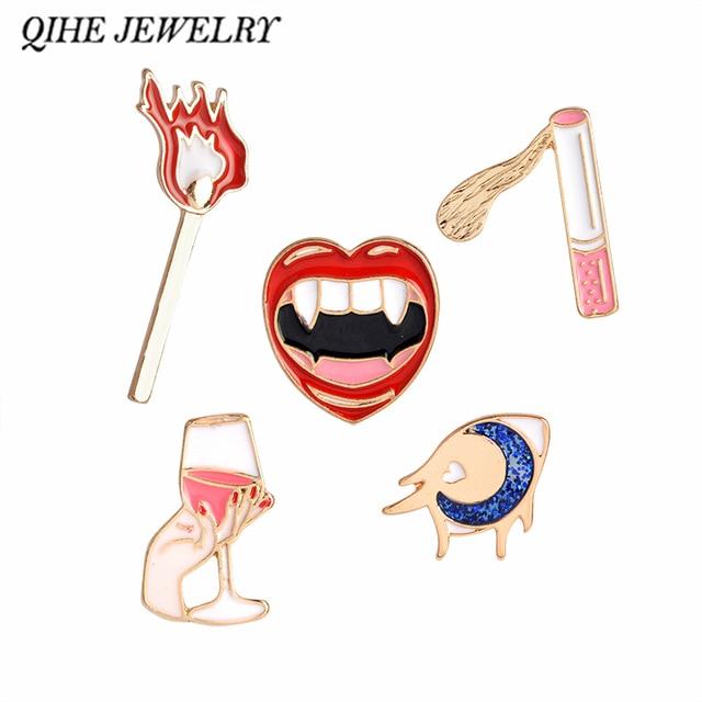 QIHE PERHIASAN Retro Gaya Seksi Bibir Merah Anggur Rokok Cocok Mata Musim Panas Gaya Baru Pin Bros Untuk Wanita Perhiasan
