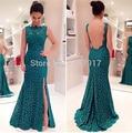 Blackish Green Lace Mermaid Cocktail Dresses 2017 Backless Front High Split mermaid Prom Dresses Long Vestido De Festa For Sale
