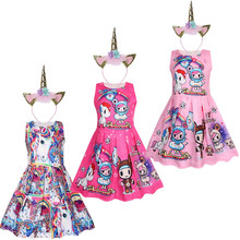 Hot Girls Christmas Dress Cute Unicorn Tutu Princess Costume Unicornio Party Cosplay Clothing Baby Girl Clothes 3-10Y