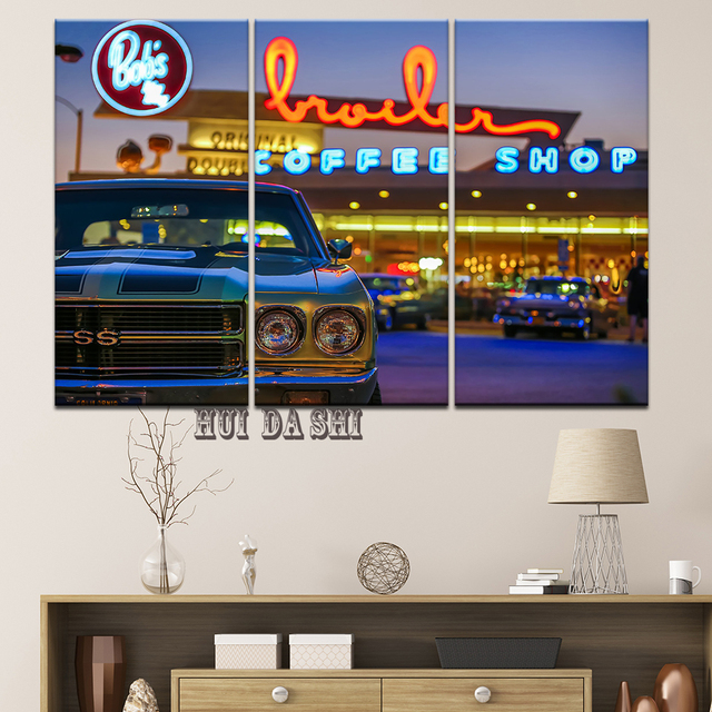 Mordern Modular Canvas Wall Art Car Pictures HD Printed Painting 3 ...