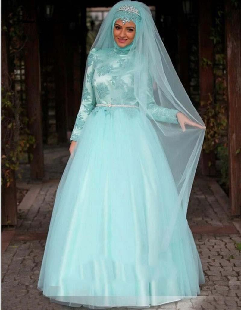 Arab Long Sleeve Muslim font b Hijab b font Islamic Wedding Dress Ball Gown Wedding Gowns