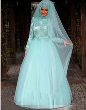 Arab Long Sleeve Muslim Hijab Islamic Wedding Dress Ball Gown Wedding Gowns Vestido De Noiva