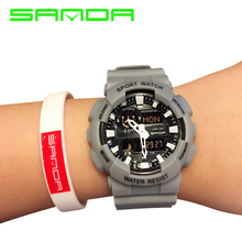 цена на SANDA Men's Sports Wrist Watch Alarm Military 30M Waterproof Sports Watches S-Shock LED Analog Digital Display Quartz Time Watch
