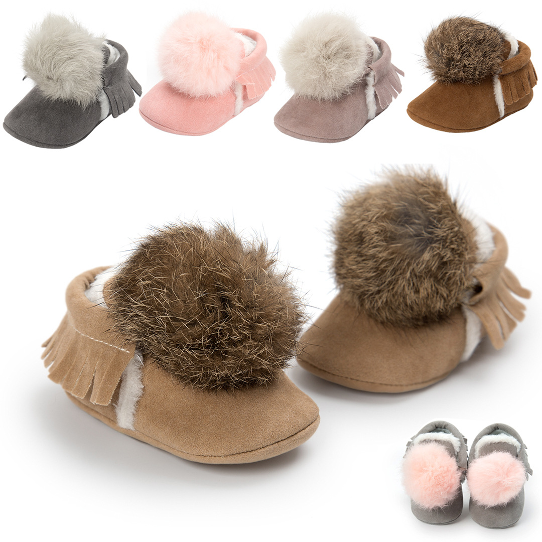 Cute Little Hairball Baby Shoes Tassels Babies Moccasins Plus Cotton Girls Shoes Winter Soft Soled Newborn Shoes Gift