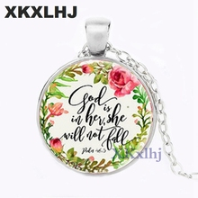 XKXLHJ bible verse necklace god is in her she will not fall scripture quote jewelry for women men christian faith gifts hot new romans 8 31 bible quote keychain if god is for us who can be against us verse christian nursery jewelry women men gifts
