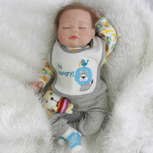 Adorable Silicone Sleeping Baby Doll 20 Inch Lifelike Reborn Babies Boy Newborn Dolls Toy With Rooted Mohair Kids Birthday Gift