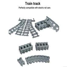 Города паровозиков поезд Гибкая железнодорожных путей пересекая прямо изогнутые рельсы фигура блоки DIY Кирпичи игрушки для детей Совместимые Legoe