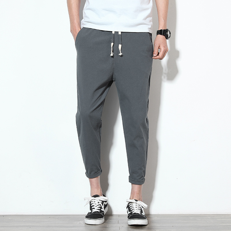 Cotton Joggers Men Summer Casual Slim Ankle-length Trousers Men Lightweight Solid Breathable Streetwear Sweatpants Men
