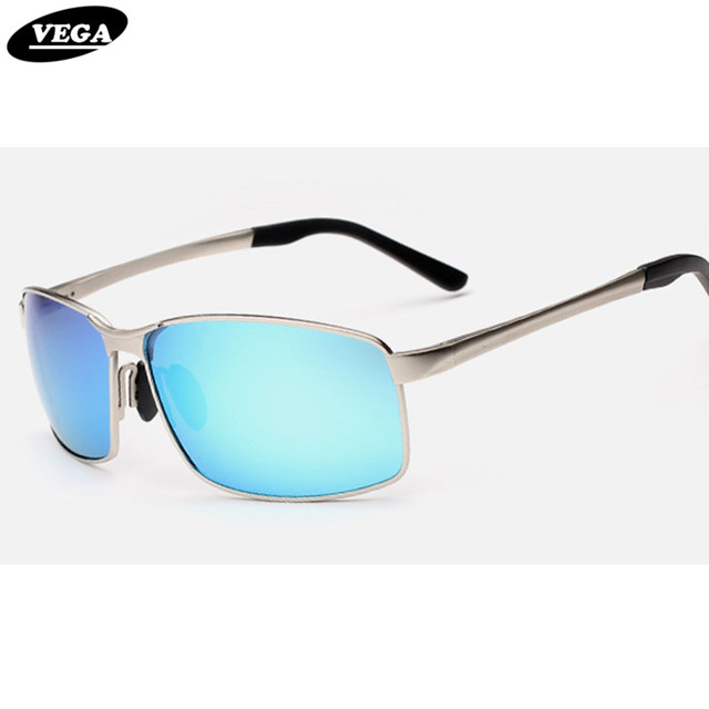 63298e33be4 VEGA Men Square Blue Tinted Sunglasses Brand Designer Party Sunglasses  Polarized with Case Hipster Glasses Silver