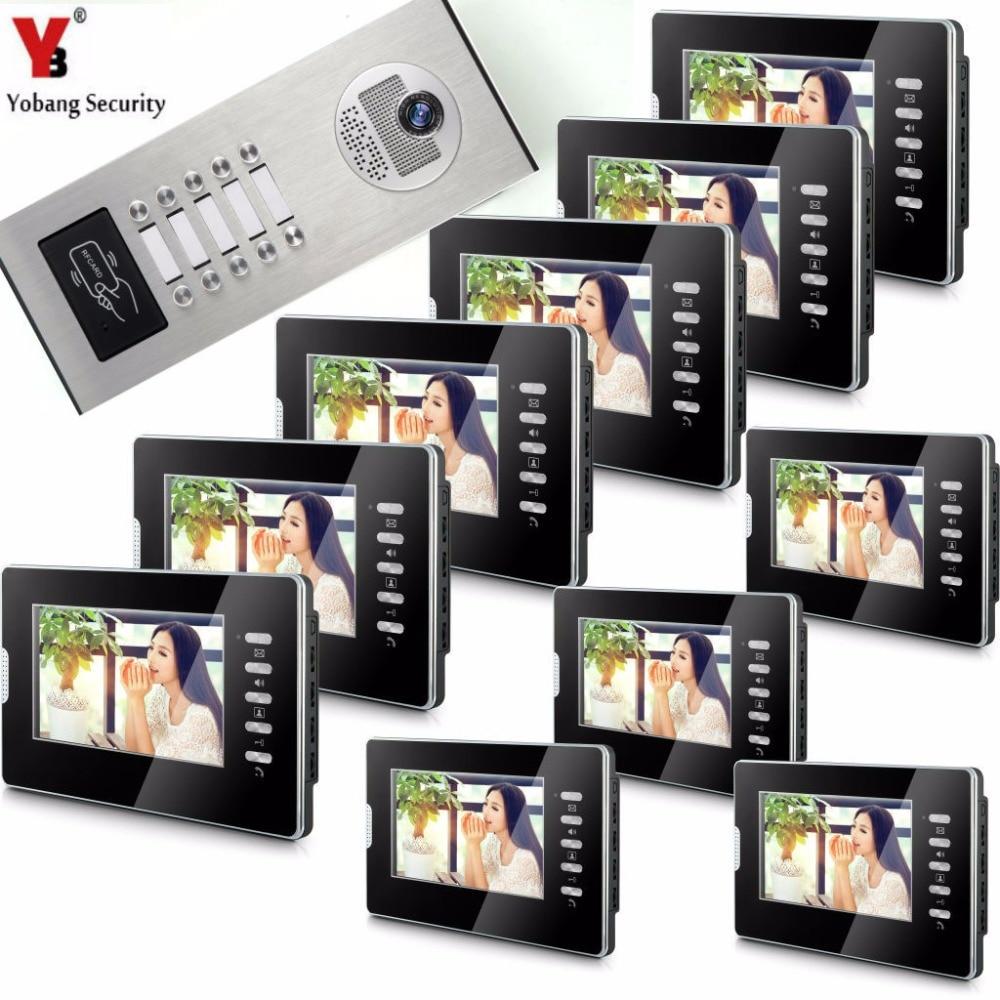 YobangSecurity Home Video Door Phone Doorphones 7Inch Color Monitor Video Intercom System Rfid Video Doorbell For 10 Apartments