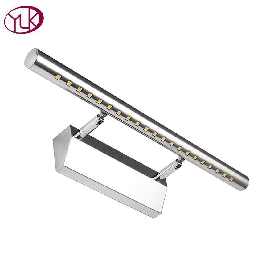 New Modern Acciaio Inox Anteriore LED Luce Specchio del Bagno Spogliatoio Armadietto Make Up Lampade Da Parete 28/40/55/70 CM 3/5/7/9 W Novità