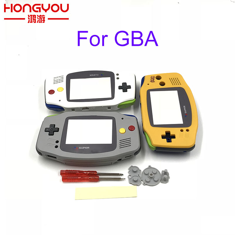 Replacement Grey Housing Shell Case w/Black Buttons for Nintendo Gameboy Advance GBA for for Super famicom Controller