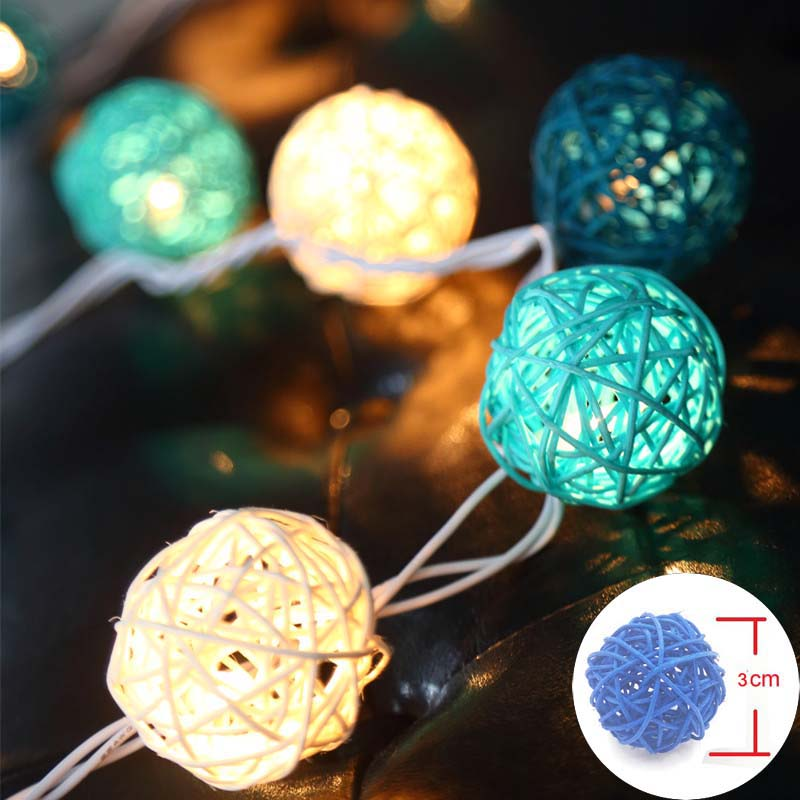 LED String Holiday Lights 20 Rattan Ball Lights AC Plug Battery Operated LED Christmas Tree Lights Garlands Wedding Decorations 20 led bubble ball shaped christmas tree string lights decorated colored lamp