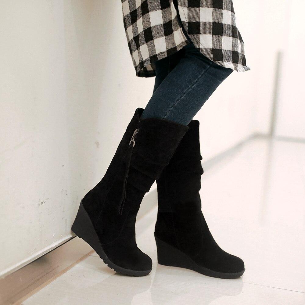 60353f1bff836b Wastyx nouvelle 2017 femmes bottes Cales de mode mi mollet bottes ronde toe  talons hauts hiver chaud Plate Forme chaussures femme grande taille 34 44  dans ...
