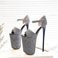 BBZAI shoes woman Pumps 20CM Show Buckle Peep Toe Frenulum Glitter Model princess dress Lady stiletto Plus Size 34 43