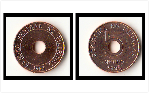 Philippines 5 Cents Coin Asia 100 Real And Original Coins