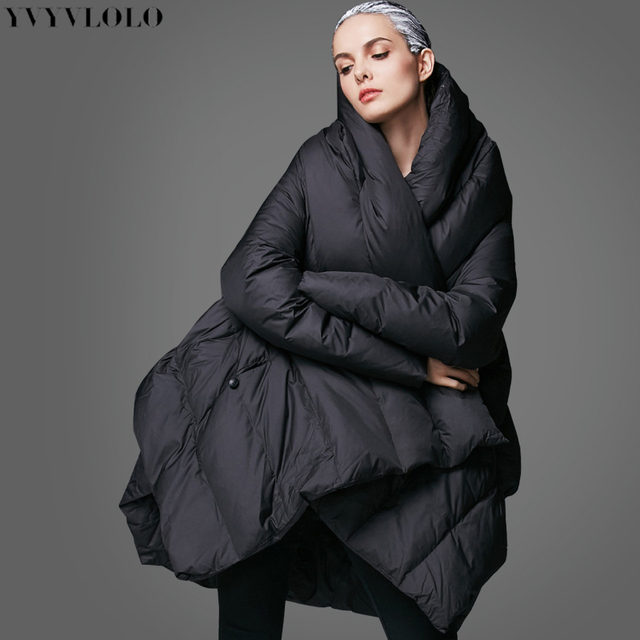 YVYVLOLO Women's Winter Jacket 2017 New Temperament Fashion Cloak Loose parka women down winter coat Warm Jacket Female Overcoat