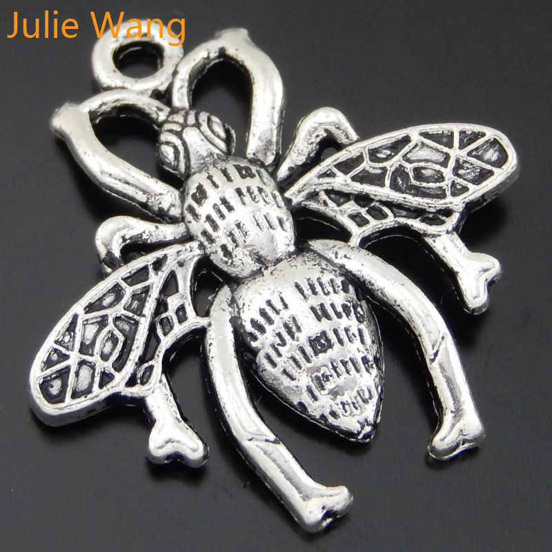 Julie Wang 10PCS Antique Silver Insects Bees Charms Pendant Handmade Craft Jewelry Making Necklace Bracelet Findings