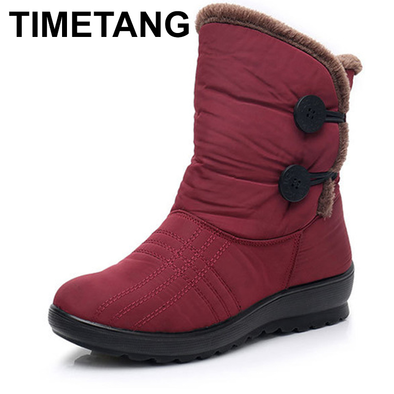 TIMETANG Snow Boots 2018 Brand Women Winter Boots Button lady Shoes Antiskid Waterproof Flexible Women Fashion Casual Boots E238