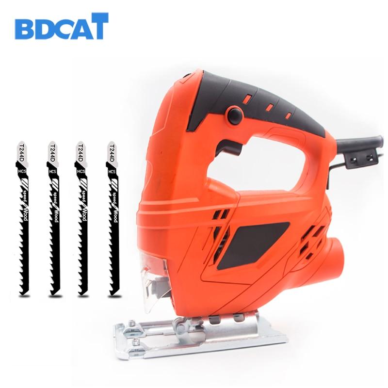 BDCAT 710W Electric Jigsaw Woodworking Electric Jigsaw Metallic Timber Plasterboard Cutting Tool with 4 Saw Blades