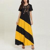 2019 Summer Women Oversized Ethnic Geometric Print Embroidery Boho Fashion Short Sleeves Maxi Robe Long Dress Vestido Feminine