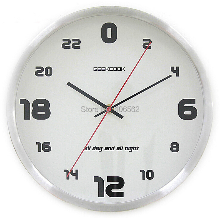 24 hour silent wall clock metal stainless steel wall clock creative sitting room wall clocks. Black Bedroom Furniture Sets. Home Design Ideas