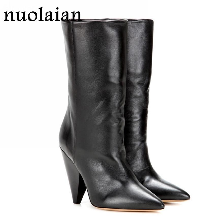 9CM Women Leather Boots Ladies Black Mid Calf High Heel Boots Womens Faux  Fur Winter Snow Shoes Woman Boot High Heels Shoe b9f320a8da