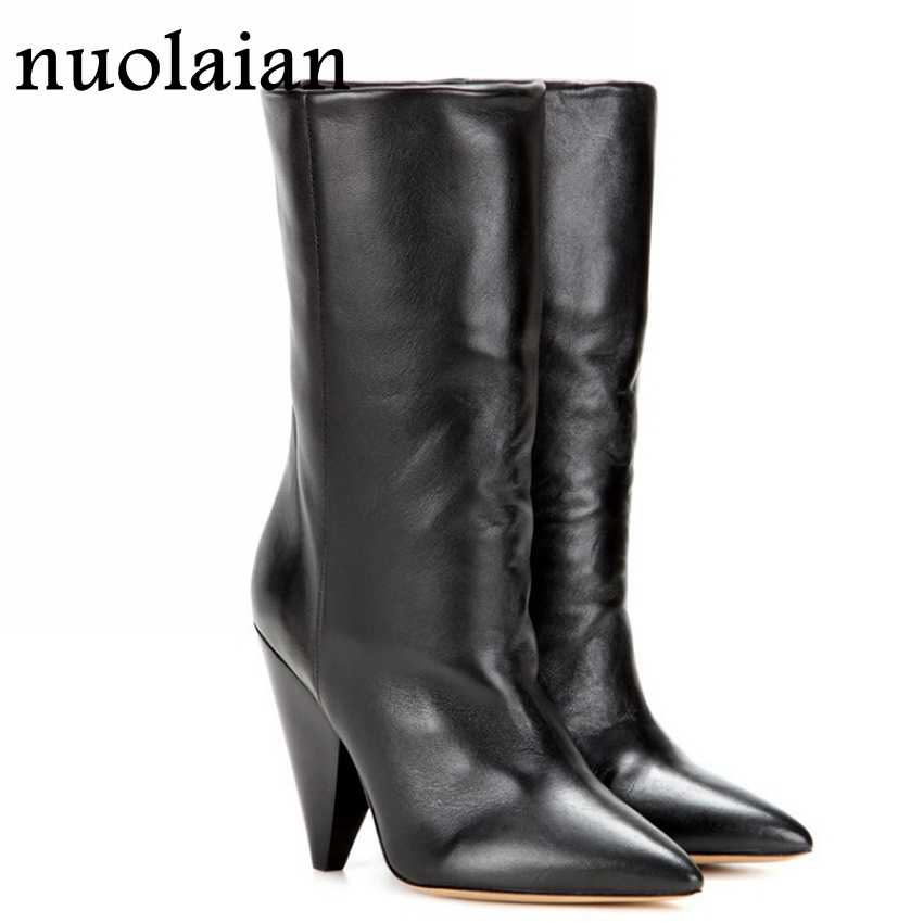 9CM Women Leather Boots Ladies Black Mid Calf High Heel Boots Womens Faux Fur Winter Snow Shoes Woman Boot High Heels Shoe