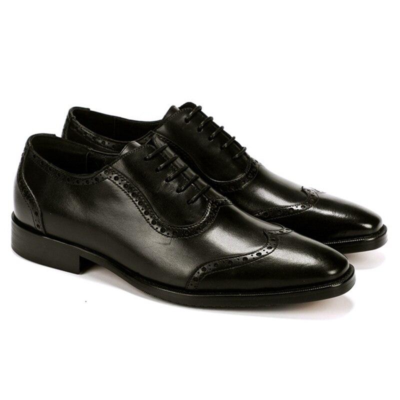 Designer Britischen Kleid Formale Ss358 Schwarzes Leder Aus brown Männer Oxfords Schuhe Brogue Mann Stil Echtem Wingtip Hochzeit Partei Handgemachte q4rqxg6w