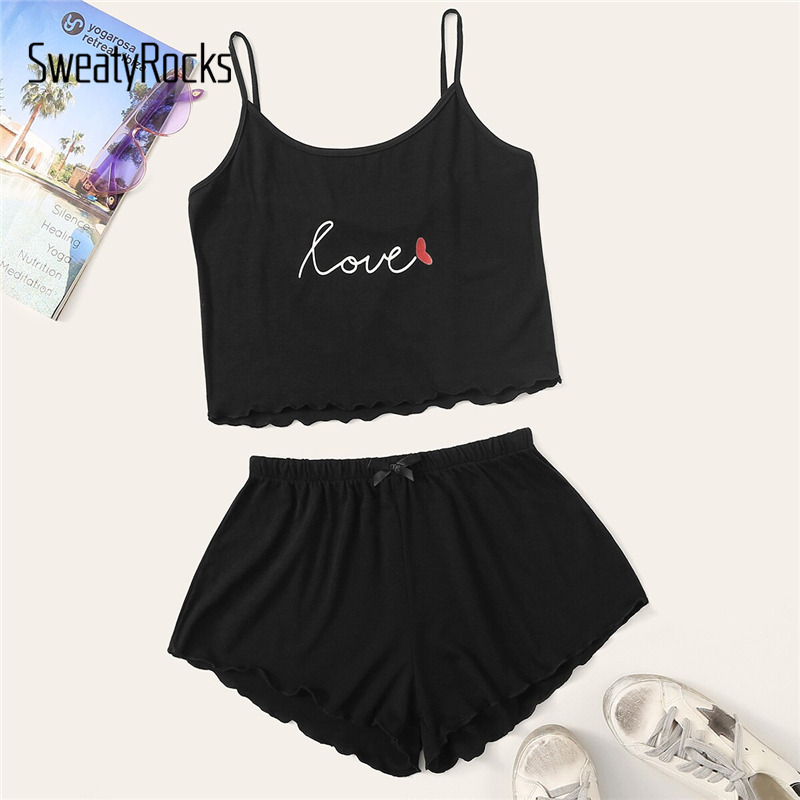 SweatyRocks Letter Print Lettuce Hem Cami   Pajama     Set   Kawaii Sleeveless   Pajamas   Women Short   Sets   Summer Casual Black   Pajama     Sets