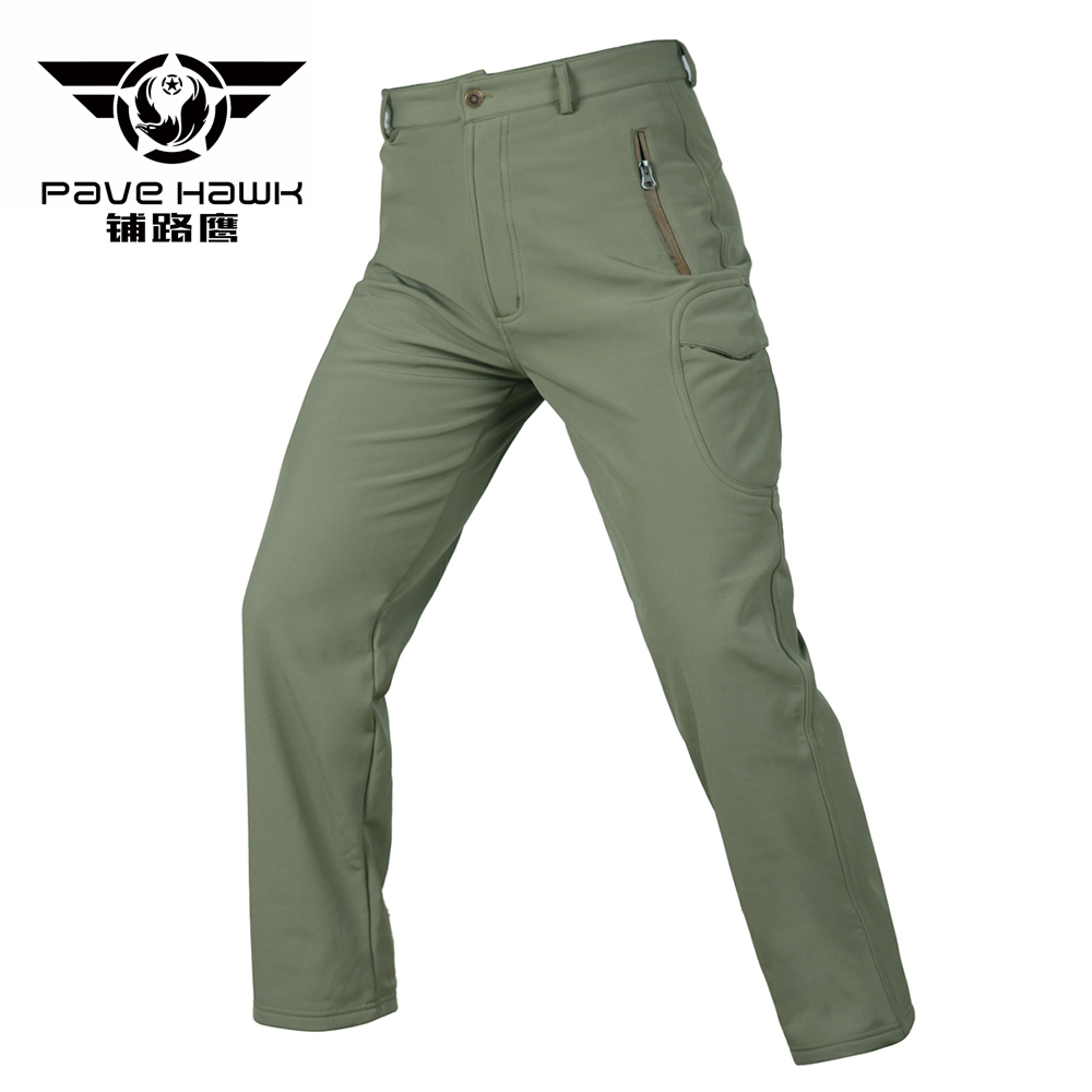 Casual Trousers Military-Pant Tactical Waterproof Winter Soft-Shell Many-Pockets Fleece