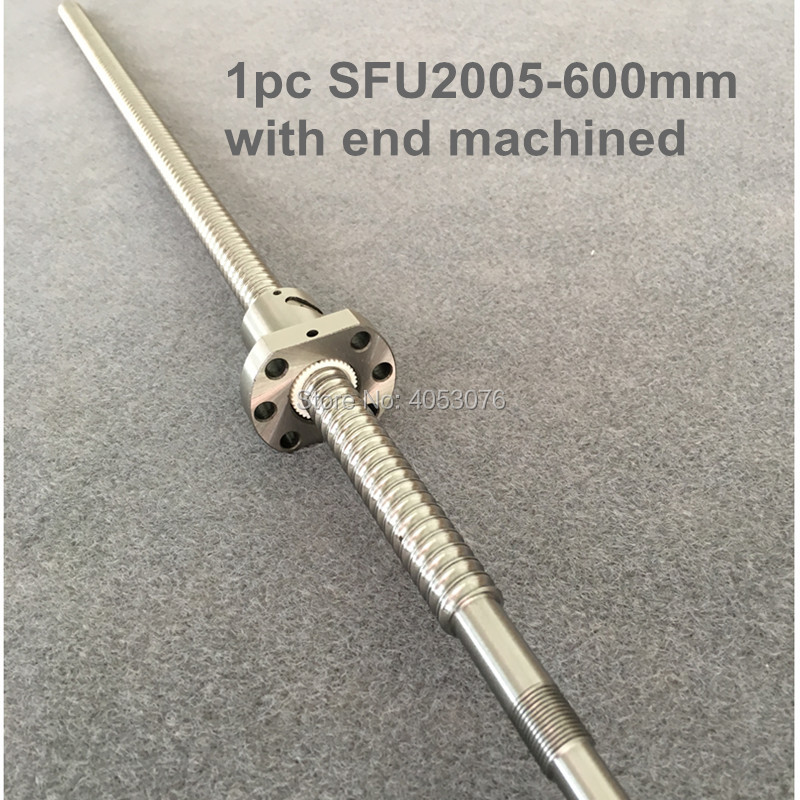 Ballscrew SFU2005 600mm ball screw with flange single ball nut BK/BF15 end machined CNC parts hiwin 1616 ballscrew 600mm c7 dia 16mm pitch with end machined and ball nut for cnc kit parts high speed