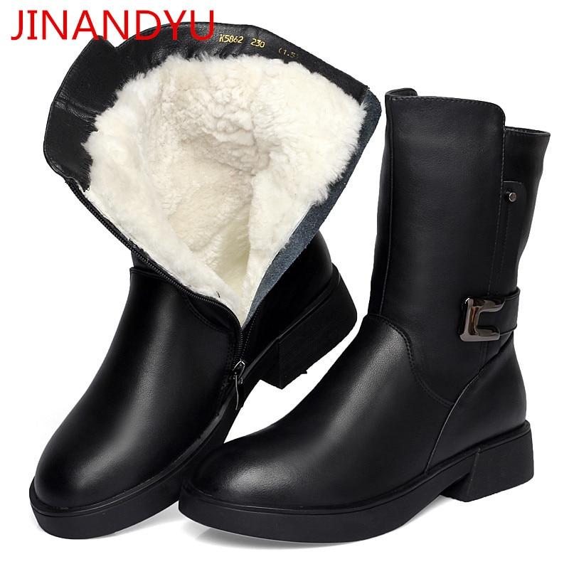 Las Moto 2 Negro De Botas Mujer Lana Caliente Cuero Nieve Genuino Mujeres Señoras Zapatos Invierno 2018 pPwqX