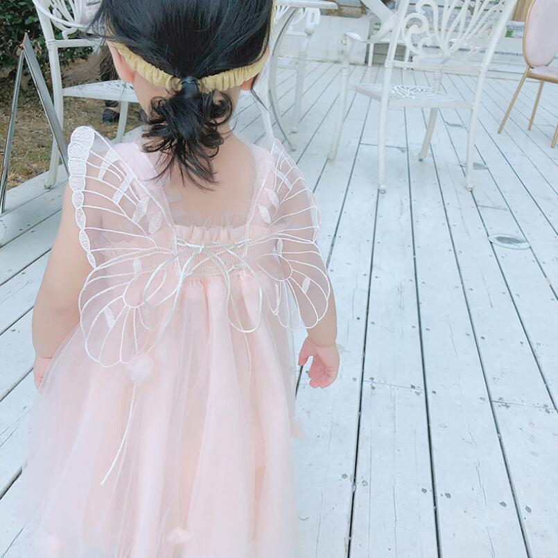 2019 Summer Toddler Baby Girls Clothes Angel Wings Mesh Vestidos