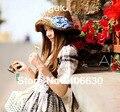 Лето рафия солома солнцезащитные головные уборы для женщины, Винтажный широкий краев пляж шляпы женское, Хлопок лента клеенные BGDS-008