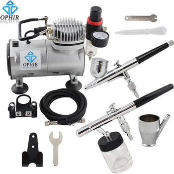 цена на OPHIR Pro 0.3mm 0.35mm Dual-Action Double Airbrush Kit With Air Compressor for Cake Paint Cake Tools_AC089+AC004+AC072