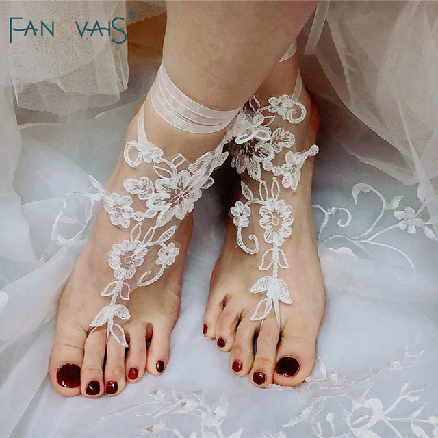 9ca40a1f1573a ELegant Lace Barefoot Sandals 2018 Beach Pool Wear Anklet Bridal Gloves  Foot Bracelet Lace Yoga Shoes Bridal Gloves WB1