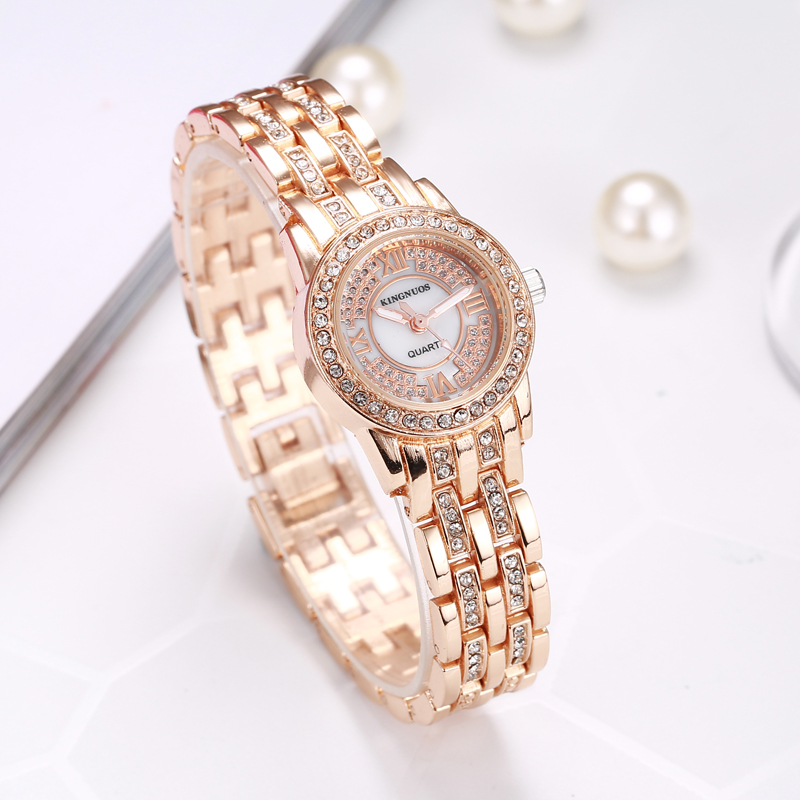 Womens Watches Brand Luxury Diamond Gold Watch Alloy Solid Strap Bracelet Fashion Ladies Quartz Wristwatch Clock Relojes Mujer|Women's Watches| |  - title=