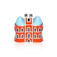 CKK 925 Sterling Silver Orange Brick House,Blue & Orange Enamel Fits Pandora Bracelet Charms Jewelry Sweet Home Jewelry Gift