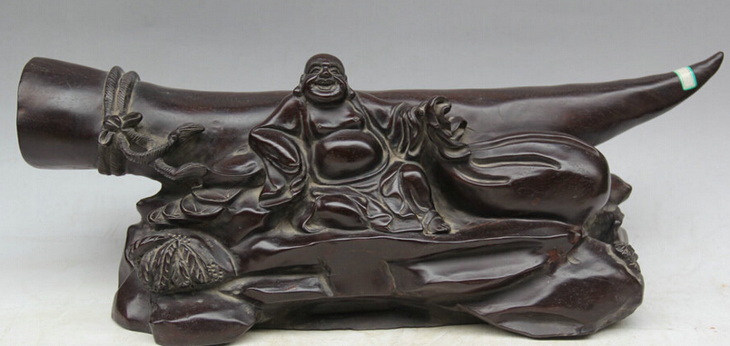 """JP S0524 20"""" Chinese Buddhism wood Wealth Ox horn Seat Happy Laugh Maitreya Buddha Statue Discount 35% statue of liberty directions statue statues figurines - title="""