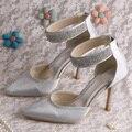 Wedopus Италия Острым Носом Серебряные Туфли Невесты с Лодыжки Ремень Невесты Насосы Dropshipping
