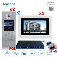 7 ''Сенсорный экран WI FI IP телефон видео домофон + POE коммутатор 2 до 5 здания Система контроля доступа Поддержка Пароль/ карт IC