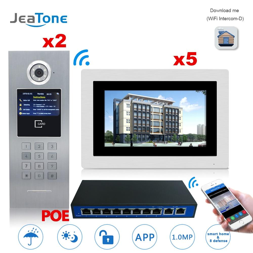 7 ''Touch Screen WIFI IP Telefone Video Da Porta Intercom + Switch POE 2 para 5 Sistema de Controle de Acesso Ao Edifício o apoio de Senha/Cartão IC
