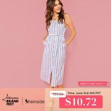 5ad74a8150 Sheinside Button Front Vertical Stripe Cami Dress Spaghetti Strap  Sleeveless Knee Length Dresses Women Summer Casual Dress