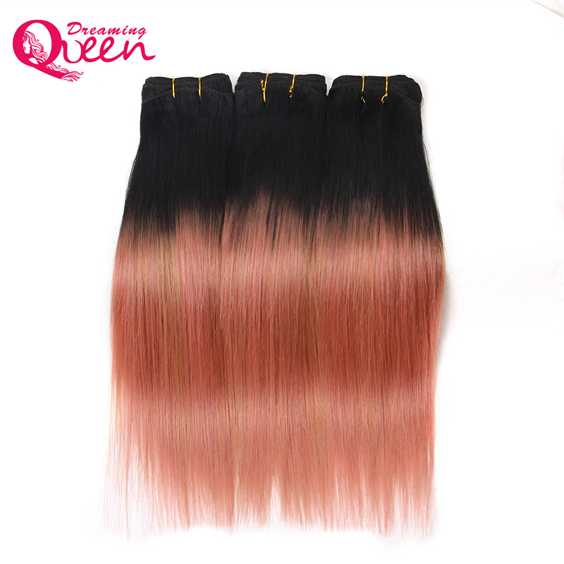 3 Bundles Rose Gold Color Brazil Straight Man Hair Pieces Pieces Remy - Rambut manusia (untuk hitam) - Foto 5