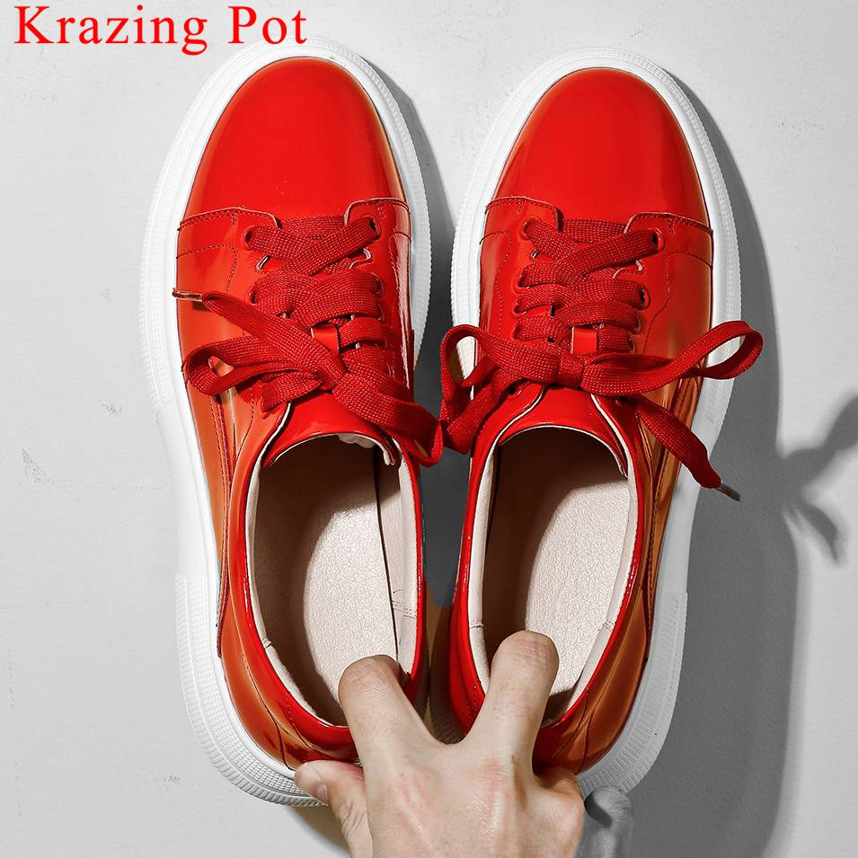 Krazing Pot cow patent leather round toe sneakers thick bottom lace up British style big size